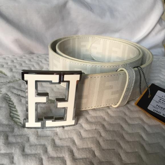 aa15b2cba5 france authentic fendi white belt 1b230 d0743